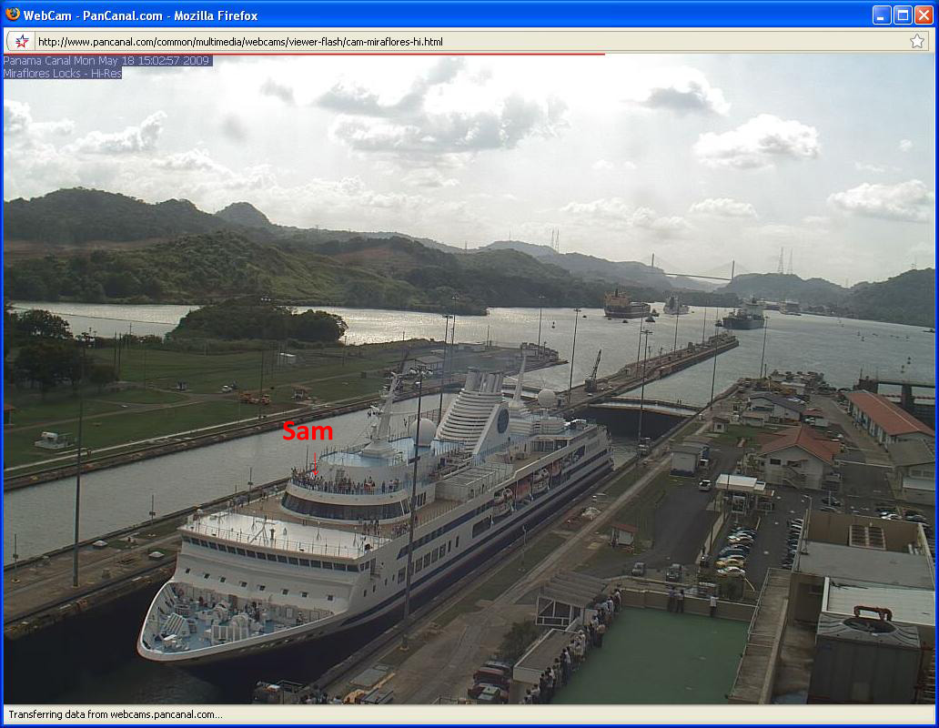 The MV Explorer traverses the last set of locks in the Panama Canal on the way from the Carribean to the Pacific on May 18, 2009.