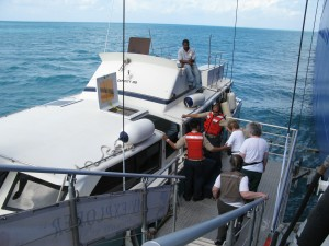 Tendering a ride to shore in Belize
